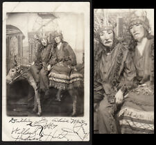 AMAZING INDIAN HALLOWEEN MASK & COSTUME WOMEN on DEAD DONKEY~ 1914 VINTAGE PHOTO