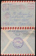SWEDEN to ARGENTINA METER FRANKING 1950 FLAG...HILLERSTROM + CO