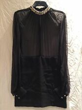 Alexander McQueen - Chiffon Dress With Crystals - Black - Size 46 (UK Size 14)