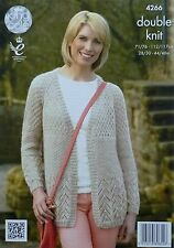 KNITTING PATTERN Ladies Long Sleeve Round Neck Textured Cardigan DK KC 4266