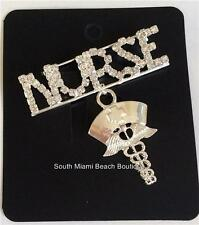 Silver Plated Crystal Pin Brooch Nursing Gift Nurses Caduceus NURSE RN LPN CNA