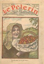 Portrait Jeune Femme  Lorraine Panier de Fruits Cerises Arbres Fruitiers 1936