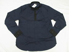 $79 NWT NEW Mens Marc Ecko Button Down Shirt Tuxed Out Woven Navy Size L K834