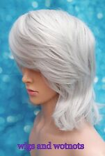 Ladies DIY synthetic silver grey tones mid length hair full wig classic cap