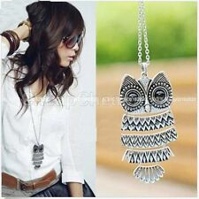 RF Silver Owl Pendent Necklace Long Sweter Chain