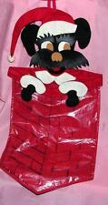 VTG 1950s DIE CUT FELT & CLEAR VINYL SCOTTIE DOG N CHIMNEY XMAS CARD WALL BAG
