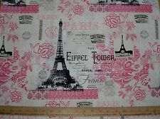 COTTON Fabric  Paris France Eiffel Tower pink black and off white NEW DESIGN
