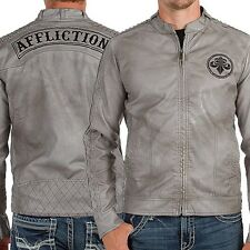 NWT AFFLICTION GRAY TOUGH RIDE FAUX LEATHER JACKET SZ 2X XXL