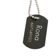 Personalized Pendant Necklace Black Dog Tag Stainless Steel Free Engraving