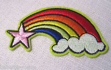 ÉCUSSON PATCH BRODE thermocollant - ÉTOILE NUAGE ARC-EN-CIEL  **4 x 7,5 cm**