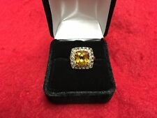 LeVian 14K Yellow Gold Chocolate Diamond White Sapphire Citrine Ring Size 7.25