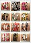 Jewelry fashion Leather Cute Infinity Charm Bracelet Silver lots Style NEW HOA U