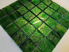 1qm  glasmosaik mosaik klarglas grün intensiv metall effekt bad dusche fliese