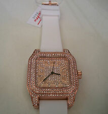 ICED OUT MEN'S ROSE GOLD FINISH TECHNO PAVE LAB DIAMOND SIMULATE SQUARE WATCH