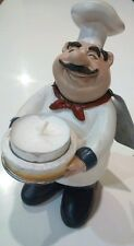 "New Fat Chef Italian Figurine French Holding Votive Candle Polyresin 6"" Rare"