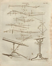 1797 GEORGIAN PRINT ~ TELESCOPE APPARATUS VIEW LIGHT PATHS