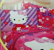 Hello Kitty Sheet Set Sanrio Raining Flowers Bedding Accessories FULL Size New