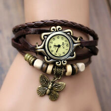 Women Vintage Charm  Butterfly Bracelet Faux Leather Quartz Wrist Watch Coffee