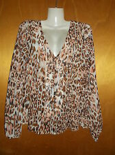 M&S Chiffon V-Neck L/Sleeved Animal Print Peplum Blouse Top 10 Pink Multi BNWT