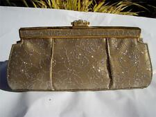 Stuart Weitzman Golden Taupe Silver Gltter Rhinestone Clutch Bag Made in Spain