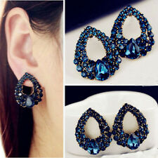 Charming Women Drop Luxury Crystal Blue Rhinestone Earring Stud Dangle Earrings