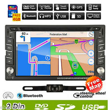 GPS Navigation HD Double 2DIN Car Stereo DVD Player Bluetooth iPod MP3 FM+Camera