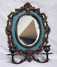 vintage cast mirror with candle sconces, 14 inches, blue,  beautiful