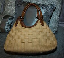 Cole Haan Genevieve Woven Leather Weave Saddle Hobo Tote Hand Bag Purse EUC!