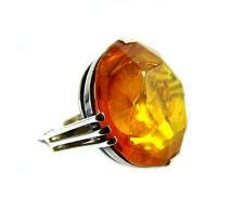 Prunk Bernstein Silber Ring Ø 2cm Königsberger Facette Schliff Baltic Amber rare