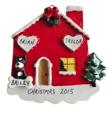 Personalized Home Family of 2 Couple w/ Dog or Cat Christmas Ornament