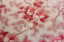 "Antique 19thC French Floral & Bird Toile Fabric~Picotage Ground~1yd1""LX32""W~Home"