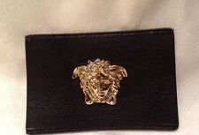 Versace unisex gold metal medusa head plate accessory for a bag,wallet,jeans