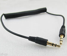 "1pc Gold 1/8"" 3.5mm Stereo Male To Male AUX Retractable Stretched Audio Cable"