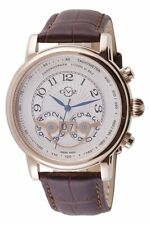 GV2 by Gevril Men's 8103 Montreux Chronograph Rose Gold Brown Leather Date Watch