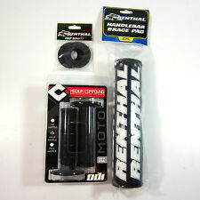 "Renthal Black 10"" Crossbar Bar Pad Grip Donuts ODI Ruffian MX Grips Set CR KX RM"