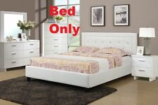 Faux Leather White Full Size Bed 1 Piece Bedroom Furniture Modern