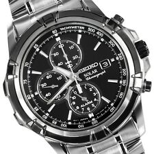 SEIKO SOLAR CHRONOGRAPH ALARM MENS WATCH SSC147P1 FREE EXPRESS BLACK SSC147