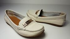 $120 size 5.5 COACH Olive Chalk Leather Flat Loafers Moccasin Womens Shoes