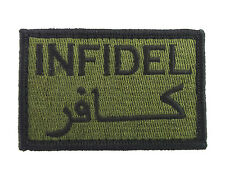 Infidel Arabic Green & Black Tactical Funny Hook & Loop Morale Tags Patch