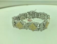 Mens White Gold Finish  White & Yellow CZ  Braclets 8""