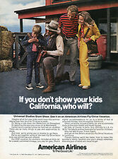 1973 American Airlines Universal Studios CA Stunt Show Vacation Travel Ad