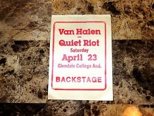 Van Halen RARE Backstage Pass 1977 Eddie David Lee Roth Quiet Riot Randy Rhoads
