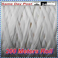 White Raffia Paper Ribbon 200m Roll for Crafting Gift Wrapping Great Quality 7mm
