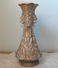 "Mid Century Savoy China Vase 24K Gold & White Spatter 12"" Original Label"