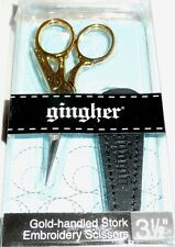 """Gingher Gold-Handled STORK Embroidery Scissors 3 1/2"""" Item #G-ST"""