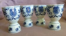 "4 Blue Danube Double Egg Cups 3 3/4""  Ribbon Banner Marked Blue Onion #P3"