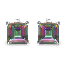 Natural Mystic Rainbow Topaz Earrings Stud Solid 925 Sterling Silver Fashion New