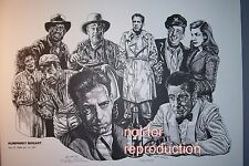 Humphrey Bogart drawing in film roles, original signed and numbered lithograph