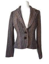 ZARA Woman Tweed Autumn Wool Blend Striped Knit Jacket Coat - S
