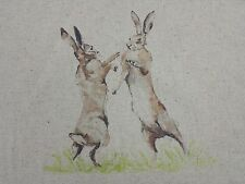 Girones Hares and Rabbits Linen Look Cotton Curtain Craft Designer Fabric